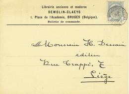 CP/PK Publicitaire BRUGGE 1908 - Librairie DEMOLIN-CLAEYS 1 Place De L'Académie BRUGES - Brugge