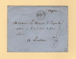 Hyeres - 78 - Var - 15 Mars 1867 - Destination Londres - Marque D Echange FR 2F - 1849-1876: Classic Period