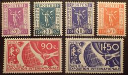 R1491/326 - 1936 - EXPOSITION INTERNATIONALE DE PARIS - SERIE COMPLETE - N°322 à 327 NEUFS** - Cote (2020) : 125,00 € - Nuovi