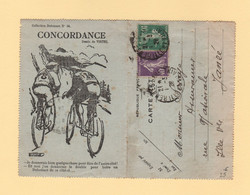Carte Lettre Illustree Dubonnet - Cyclisme Velo - Rennes - Type Semeuse - 1928 - 1877-1920: Periodo Semi Moderno