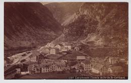 OLD PHOTO +- 1890   GOESCHENEN  CHEMIN DE FER DU ST GOTTARD  2 SCANS   15 X 9 CM - UR Uri