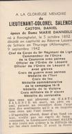 ABL , Lieutenant - Colonel Salence , 34e Régiment De Ligne , Né à Reninghelst - Todesanzeige