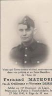 ABL , Fernand Mathoul , 31e De Ligne ,Passchendaele  27 Mai 1940 - Obituary Notices