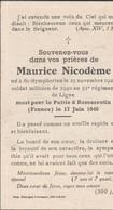 ABL, Maurice Nicodème , 51e De Ligne , Né à St - Symphorien, Mort Pour La Patrie à Romorantin 17 Juin1940 - Obituary Notices