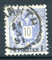Austrian Levant 1888 Surcharges - 1pi On 10k Blue Used (SG 24) - Usados