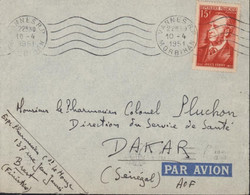 YT 880 Jules Ferry 15F Seul Sur Lettre Pour Dakar Sénégal AOF Par Avion CAD Vannes RP Morbihan 10 4 1951 + Flamme Dakar - 1921-1960: Modern Period