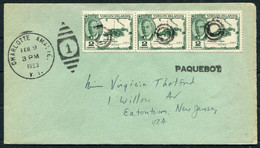 1953 Virgin Islands PAQUEBOT Ship Cover, Charlotte Amalie V.I. - New Jersey USA - British Virgin Islands