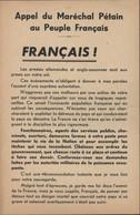 Guerre 39 45 Tract Pétainiste Pétain Après Débarquement Appel Du Maréchal Pétain Au Peuple Français - Historical Documents