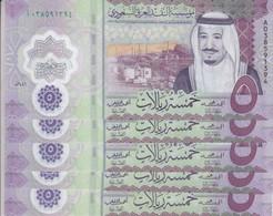 SAUDI ARABIA 5 RIYAL 2020 P-NEW KING SALMAN POLYMER LOT X5 UNC NOTES - Saudi Arabia