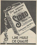 Z9182 SIDEO Motor Oil -  Pubblicità D'epoca - 1929 Old Advertising - Publicidad