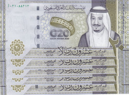 SAUDI ARABIA 20 RIYAL 2020 P-NEW COMMEMORATIVE G20 SUMMIT LOT X5 UNC NOTES - Saudi Arabia