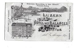 SUISSE  -  FACTURE  De  HOTEL  DES  BALANCES  LUZERN  JUILLET  1907 - Suiza