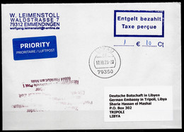 """Corona Covid 19 Postal Service Interruption """"Zurück An Den Absender.. """" Reply Coupon Paid Cover Germany To TRIPOLI LIBYA - Libia"""