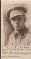 ABL, René Lallemand , Sous - Lieutenant 31e De Ligne , Né à Muno Le 4 Avril 1915 , Mort Pour La Patrie Le 27 Mai 1940 - Obituary Notices