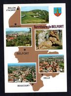 """Carte Géographique """"90 Territoire De BELFORT"""" Ballon D'Alsace , Giromagny, Delle, Beaucourt - Multi-Vues - Cartes Géographiques"""