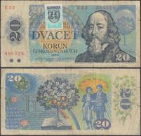 SLOVAKIA - 20 Korun 1993 P# 15 (stamp On Czechoslovakia P#95) - Edelweiss Coins - Slovakia
