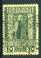 Austrian Levant 1908-14 60th Anniversary Of Emperor's Accession - 10pi Green On Yellow Used (SG 67) - Used Stamps