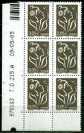 COIN DATE N° 3754 TYPE II MARIANNE DE LAMOUCHE 0,05e ITVF TD 215 A DU 09/05/2005 NEUF ** - 2000-2009