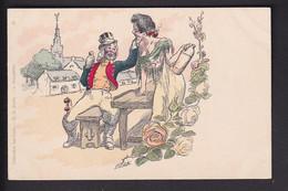 D38 /   Kunstkarte Signiert Willette / Um 1900 Frau Und Wein - Unclassified
