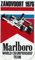 Marlboro Zandvoort 1976 World Championship Team Vintage Sticker, Aufkleber, Autocollant - Adesivi