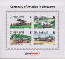 ZIMBABWE, 2020, MNH, CENTENARY OF AVIATION IN ZIMBABWE, PLANES, BRIDGES, WATERFALLS,SHEETLET - Vliegtuigen