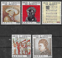 Mexico, 1974, Mi 1437-1441, Mexican Arts And Sciences - Music And Musicians, 5v, MNH - Musica