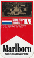 Marlboro Zandvoort 1978  World Championship Team Grand Prix Formule 1 Vintage Sticker, Aufkleber, Autocollant - Adesivi