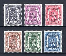 PRE381/386 MNH** 1938 - Klein Staatswapen IX Opdruk Type A  - REEKS 9 - Typografisch 1936-51 (Klein Staatswapen)