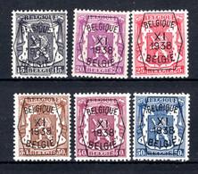 PRE393/398 MNH** 1938 - Klein Staatswapen XI Opdruk Type A - REEKS 11 - Typografisch 1936-51 (Klein Staatswapen)