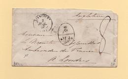 Liancourt - 58 - Oise - 2 Juil 1867 - Destination Londres - Marque D Echange FR 2F - 1849-1876: Classic Period