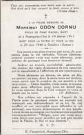 ABL, Odon Cornu , Né à Ramegnies - Chin Le 10 Février 1911 Mort Pour La Patrie Et Le Roi Le 20 Juin 1940 à Doullens - Todesanzeige