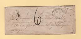 Destination Martinique - Pamiers Ariege - 26 Juin 1858 - Taxe Tampon 6 - Boite Rurale J - Sans Correspondance - 1849-1876: Classic Period