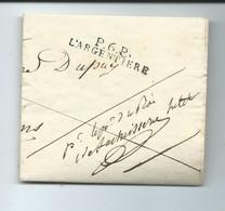 MARQUE LINEAIRE P.6.P. L'ARGENTIERE POUR LES VANS 1825 - ARDECHE - LETTRE DU SUBSTITUT DU PROCUREUR DU ROI A UN NOTAIRE - 1801-1848: Voorlopers XIX