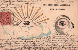 Carte Maçonnique (symboles) Les Deux Yeux Auxquels Rien N'échappe - Oeil De Caïn - Filosofie