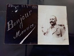 H1:st Bonnet Le Château Carte Photo. Photo D'un Homme Avec Noté Bonjour Maurice - Sonstige Gemeinden