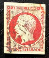 AFR63 - France N° 17A 80c Carmin - Oblitéré/cancelled Losange Et Partiellement Cachet Rouge - 1853-1860 Napoleon III