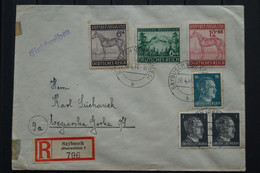 Deutsches Reich 1944 Letter Einschrieben, Mi 857-858 Saybush To Poland. - Briefe U. Dokumente
