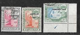 ZANZIBAR 1964 JAMHURI 1964 OVERPRINT TRIO - Zanzibar (1963-1968)