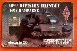 Télécarte 50 Unités -10 ème Division Blindée En Champagne - Leger