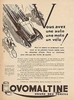 Y9123 OVOMALTINE - Vous Avez Une Moto... - Pubblicità D'epoca - 1930 Old Advert - Pubblicitari