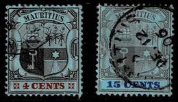 Mauritius 1904,Michel# 126, 128 O - Mauritius (...-1967)