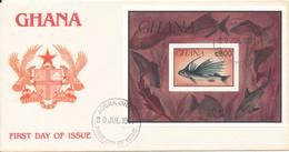 Ghana FDC 29-7-1991 FISH Souvenir Sheet With Cachet - Ghana (1957-...)