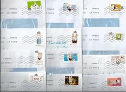 """Série Complète De 12 Timbres Auto-adhésifs Sur Enveloppes """"Les Lapins Crétins"""" - - Storia Postale"""