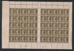 France - 1924-26 - N°Yv. 193 - Semeuse 40c Brun-olive - Bloc De 50 Millésimé 6 - Neuf Luxe ** / MNH / Postfrisch - Nuovi