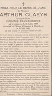 ABL, Arthur Claeys , Né à Mouscon Le 25 Juillet 1909et Tombé Au Champ D'honneur à Meirelbeke Le 21 Mai 1940 - Obituary Notices
