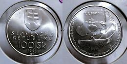 SLOVAKIA 100 KORUN 1993 Km#16 BU SILVER G#03-20) - Slovakia