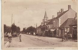 Saint-Christophe-en-Boucherie  36  La Route Principale Animée Café Et Charron - Otros Municipios