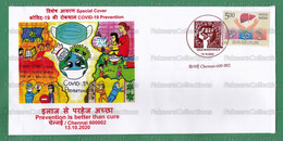 INDIA 2020 Inde Indien - COVID-19 PREVENTION - Set Of 5 Special Postmark Covers - Chennai 13.10.2020 - Corona, Children - Disease