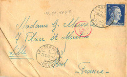 ENVELOPPE ET COURRIER ENVOYE DE LENDERSDORF  EN 12/1943 TIMBRE HITLER LEON FLAMNET - WW II