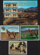 Turkmenistan Akhal-Teke Horses Sheetlet Of 6v +3 MSs 2001 MNH SG#101-106+MS107-108 MI#Block 9-12 CV£61.- - Turkmenistan
